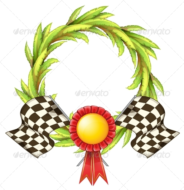 GraphicRiver Wreath and ribbon with two racing flags 7845621