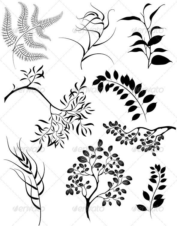 GraphicRiver Silhouettes of Branches and Plants 7845738