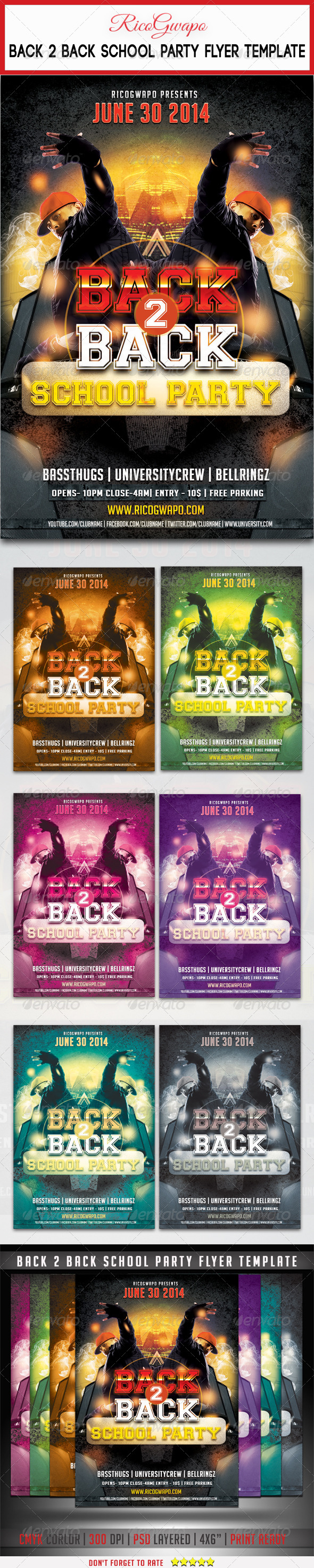 GraphicRiver Back 2 Back School Party Flyer Template 7845778