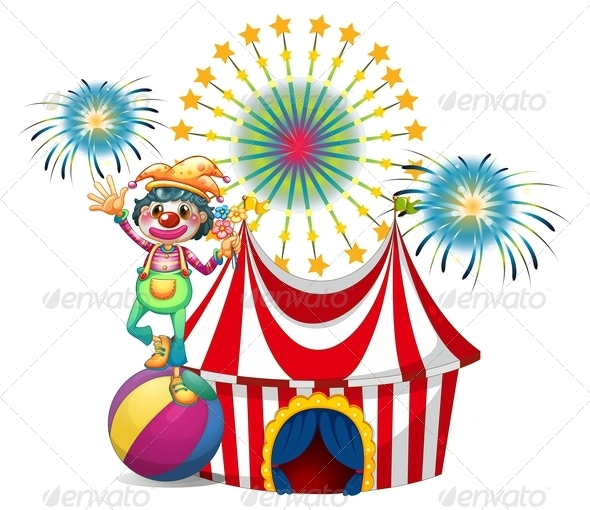 GraphicRiver Clown with circus tent 7845827