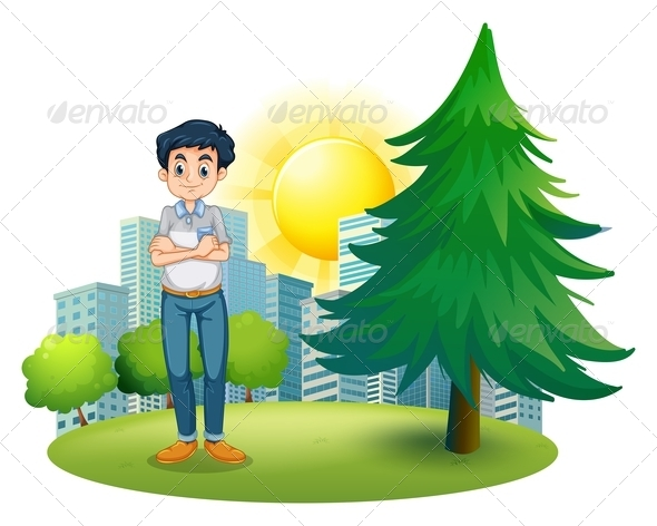 GraphicRiver Man standing near pine tree 7845875