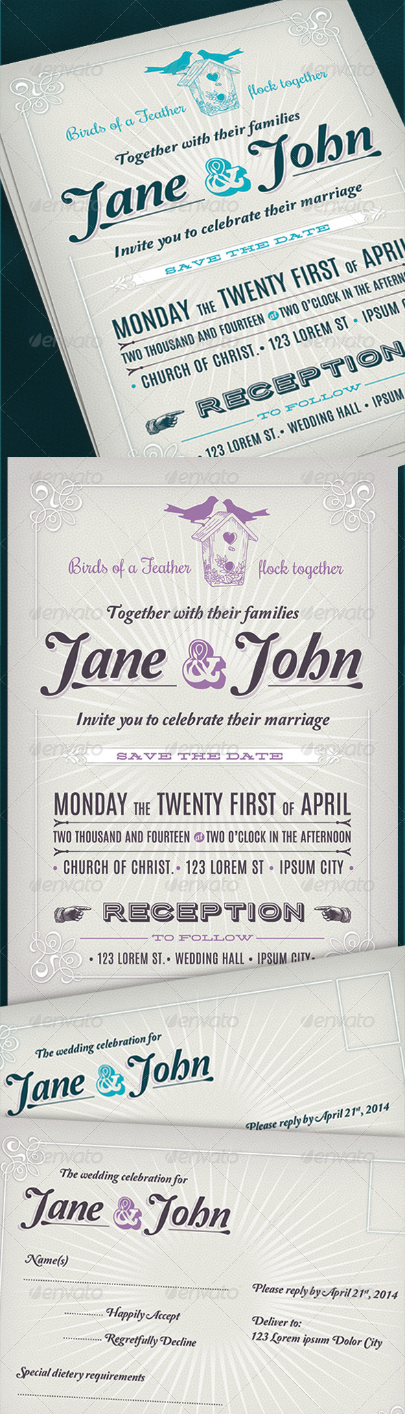 GraphicRiver Retro Wedding Invitation 7846175