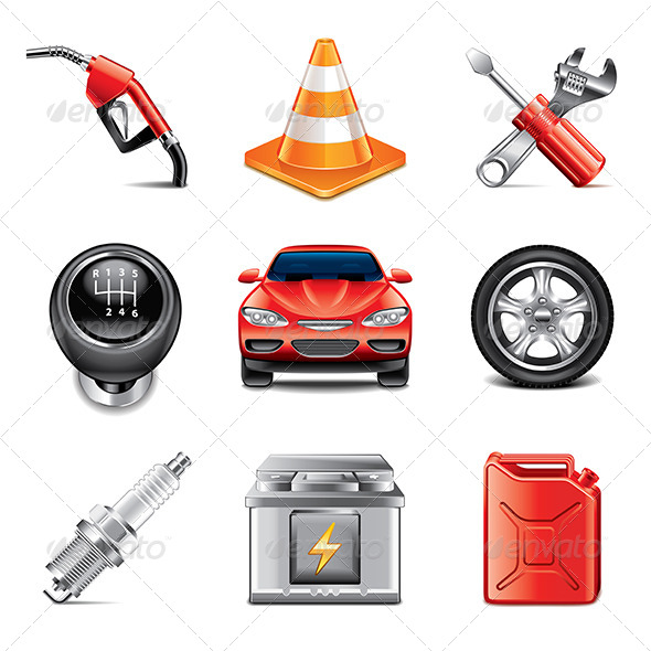 GraphicRiver Car Service Icons Photo-Realistic Set 7846784
