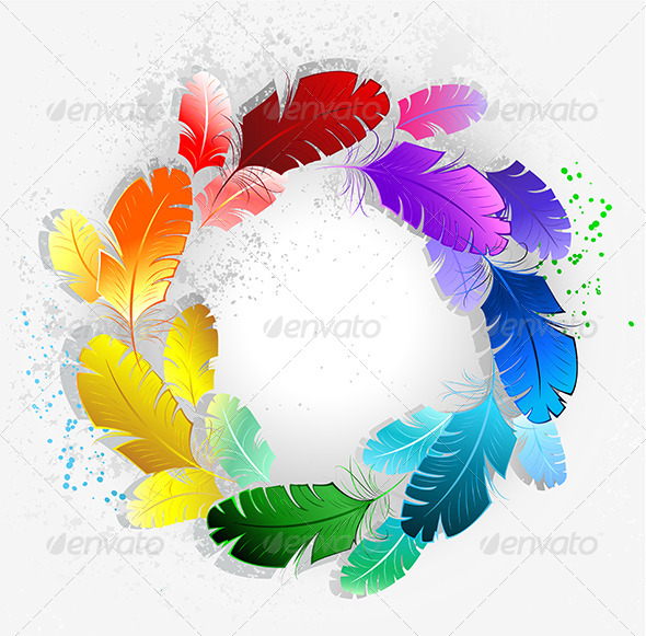 GraphicRiver Circle of Rainbow Feathers 7846811