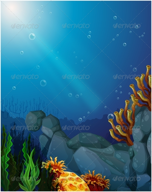 GraphicRiver Corals and seaweed under the sea 7846918
