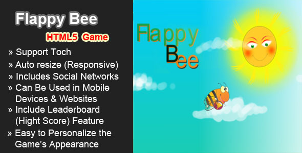 CodeCanyon Flappy Bee HTML5 Game 7846963