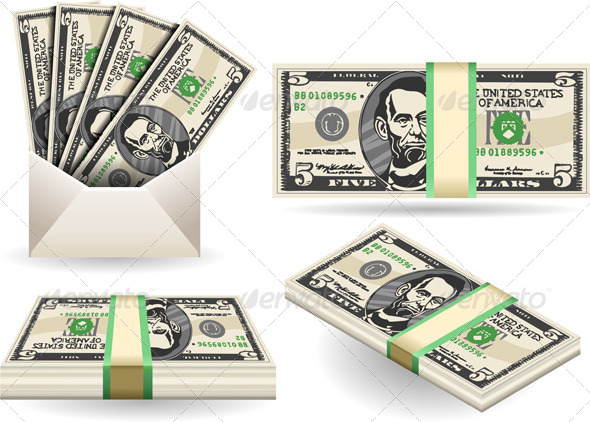 GraphicRiver Set of Five Dollars Banknotes 7848863
