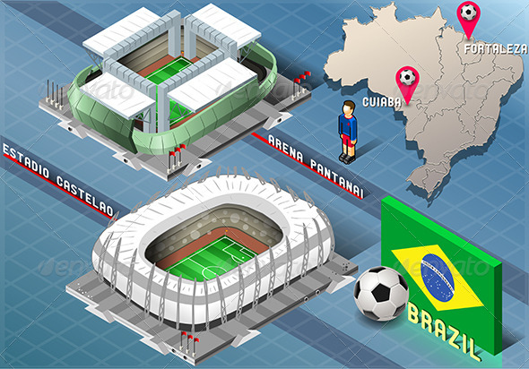 GraphicRiver Isometric Stadiums of Cuiaba and Fortaleza 7848911