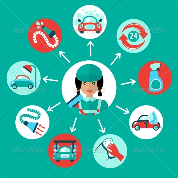 GraphicRiver Car Wash Icons 7849100