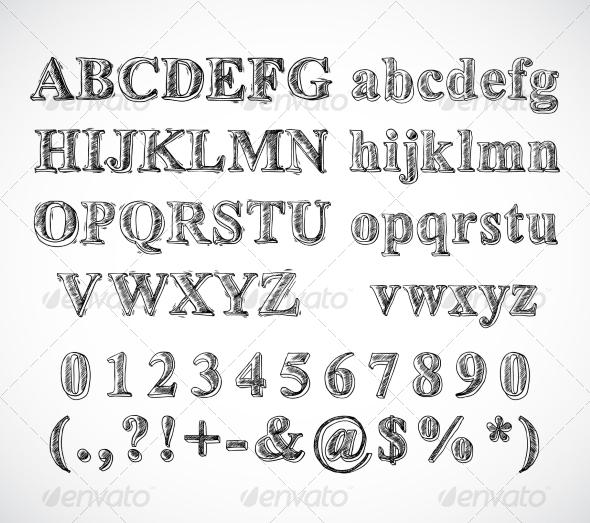 GraphicRiver Sketch Alphabet Font 7849104