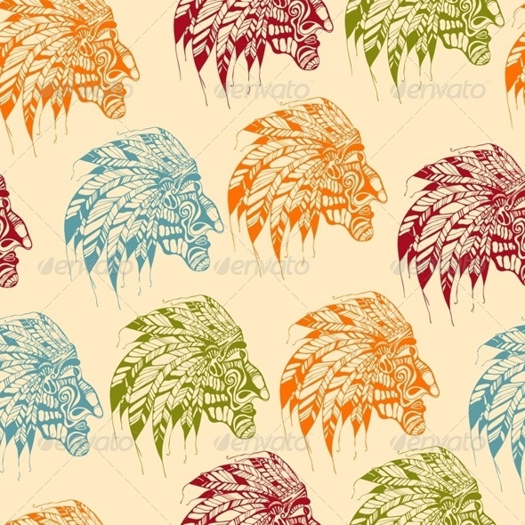 GraphicRiver Seamless Pattern with American Indians 7849214