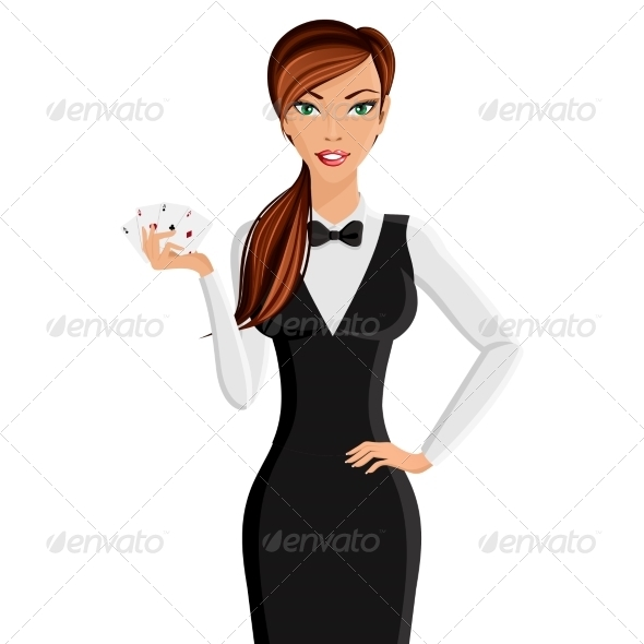 GraphicRiver Woman Casino Dealer Portrait 7849399