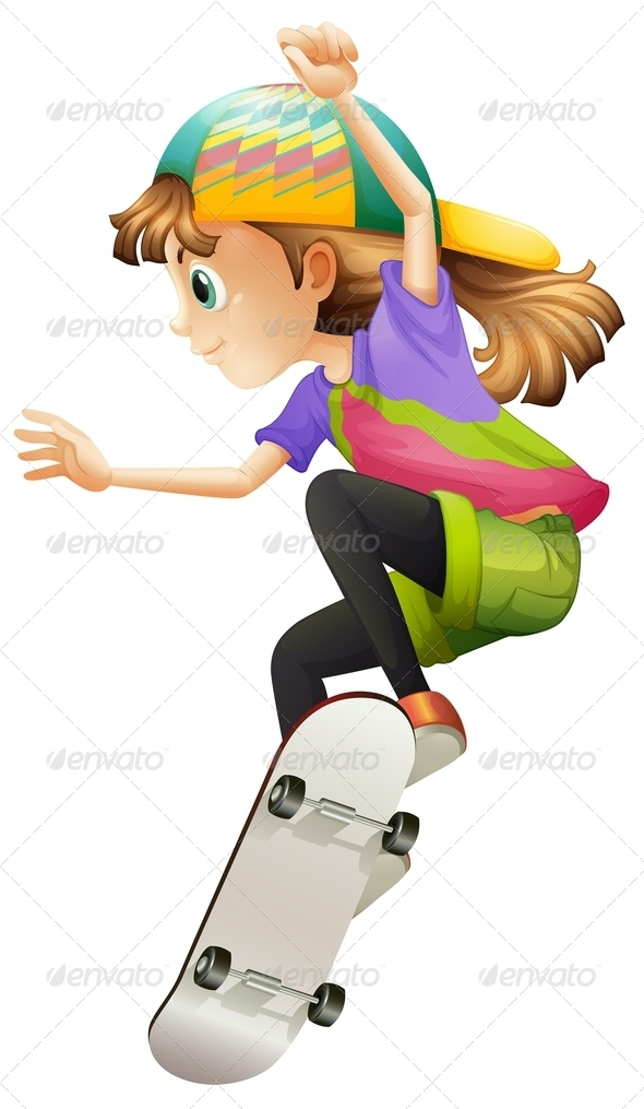 GraphicRiver Skateboarding Girl 7851434