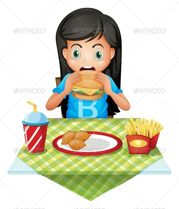 GraphicRiver Girl eating at a fast food restaurant 7851551