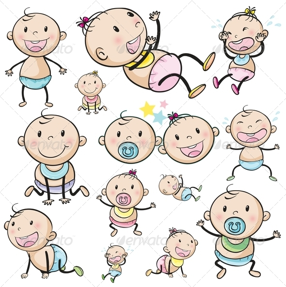 GraphicRiver A group of babies 7851554