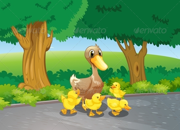 GraphicRiver Mother Duck and her Ducklings on a Path 7851764