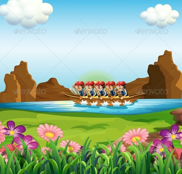 GraphicRiver A group of men boating 7851825