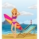 Girl at the beach with surfboard - GraphicRiver Item for Sale
