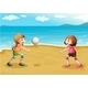 Girls playing volleyball at the beach - GraphicRiver Item for Sale