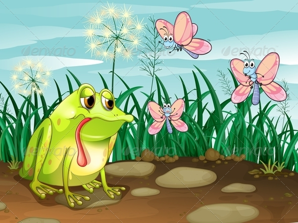 GraphicRiver A frog and three butterflies 7852228