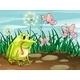 A frog and three butterflies - GraphicRiver Item for Sale