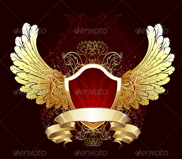 GraphicRiver Red Shield with Golden Wings 7852283