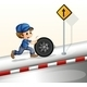 Smiling mechanic pushing a tire - GraphicRiver Item for Sale