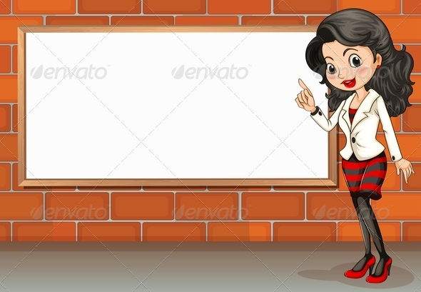 GraphicRiver Lady standing beside empty signboard 7852314
