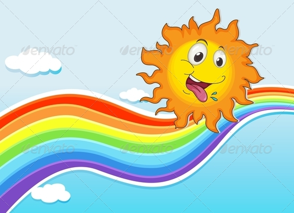 GraphicRiver Happy sun and Rainbow 7852576