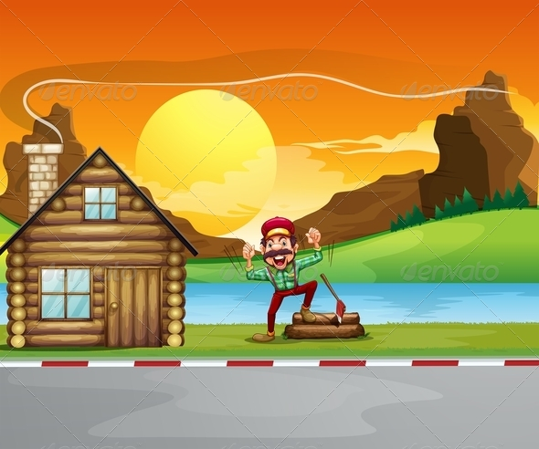 GraphicRiver Woodman beside wooden house 7852602