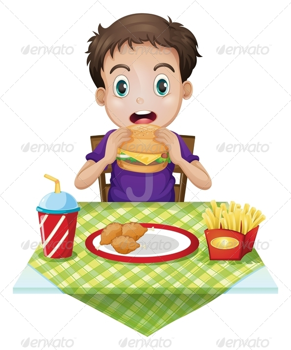 GraphicRiver A boy eating 7852604