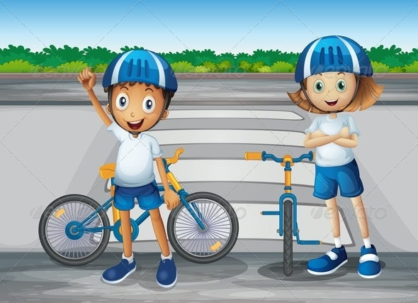 GraphicRiver A girl and a boy with their bikes 7852605