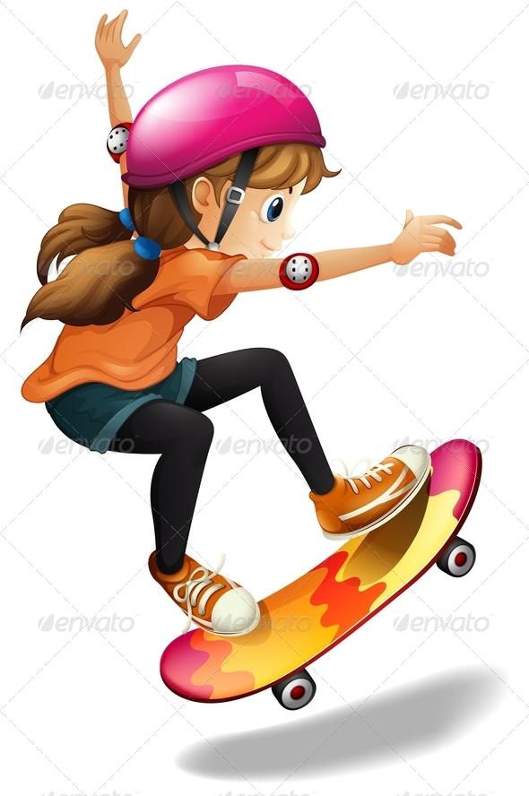 GraphicRiver Girl skateboarding 7852734