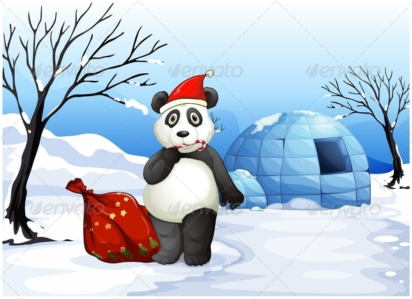 GraphicRiver Panda with a red sack 7852756