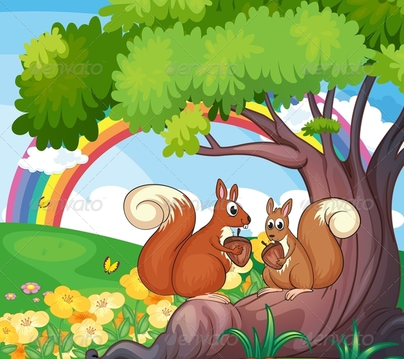 GraphicRiver Tree with squirrels 7852759
