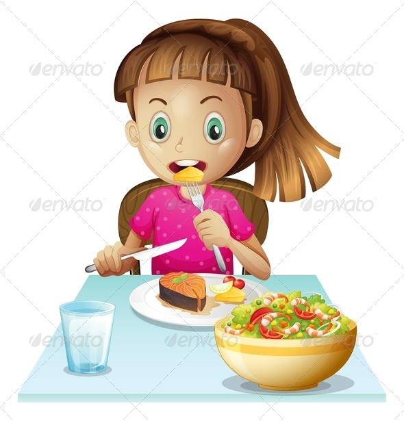 clipart girl eating breakfast - photo #50