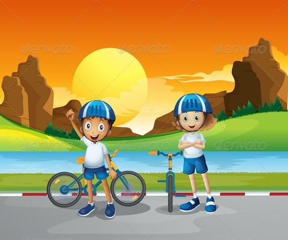 GraphicRiver Two kids with their bikes 7853151