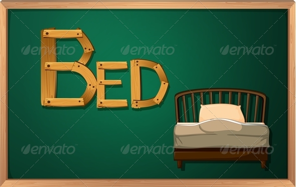 GraphicRiver Blackboard with bed 7853247