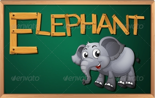 GraphicRiver Blackboard with Elephant 7853249