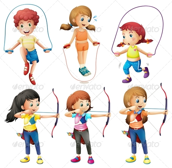 GraphicRiver Kids Skipping and Archery 7853292