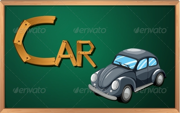 GraphicRiver Blackboard with Car 7853465