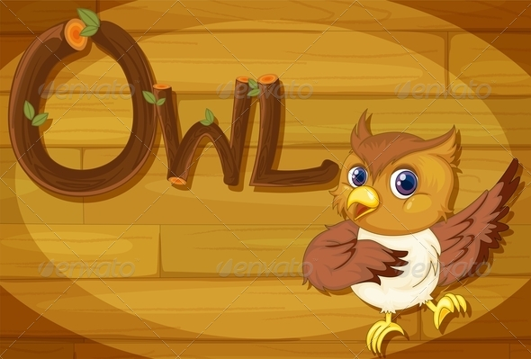 GraphicRiver Wooden frame with Owl 7853680