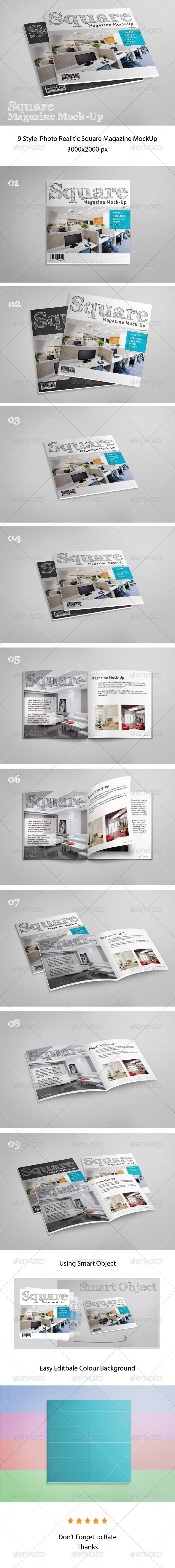 GraphicRiver Square Magazine Mock-Up 7853945