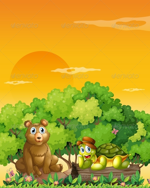 GraphicRiver Bear and a turtle in the forest 7854204