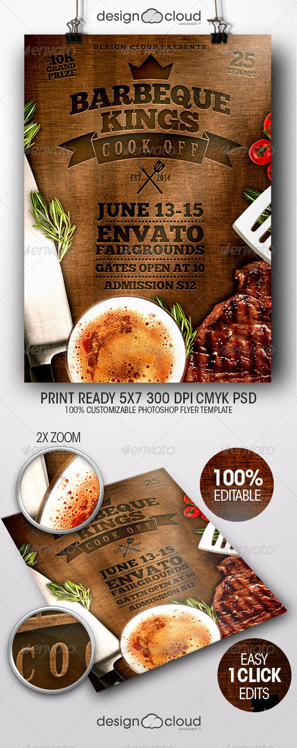 GraphicRiver BBQ Kings Cook Off Flyer Template 7854250