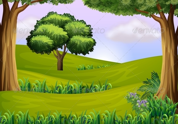 GraphicRiver Trees in the hills 7854820