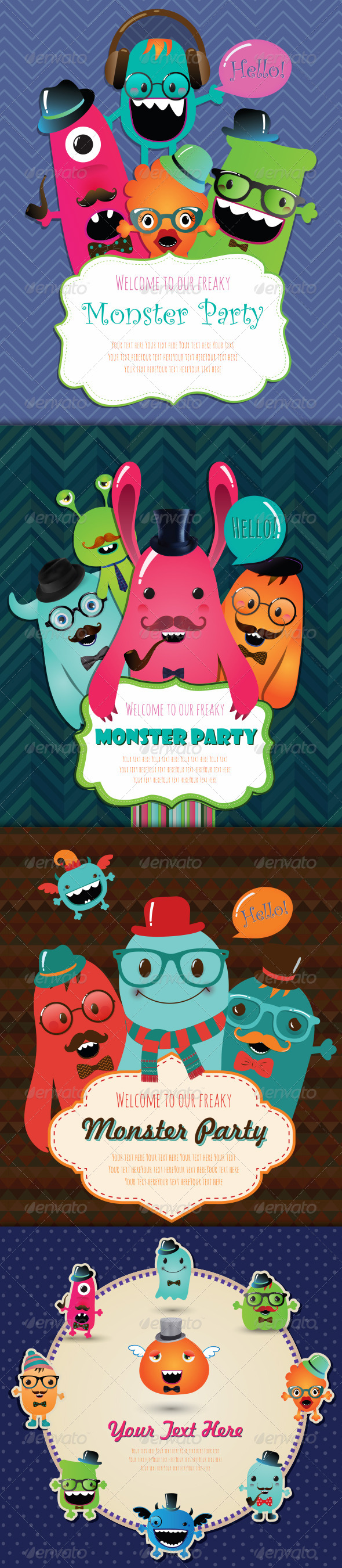 GraphicRiver Banners and Greeting Cards with Cute Monsters 7855144