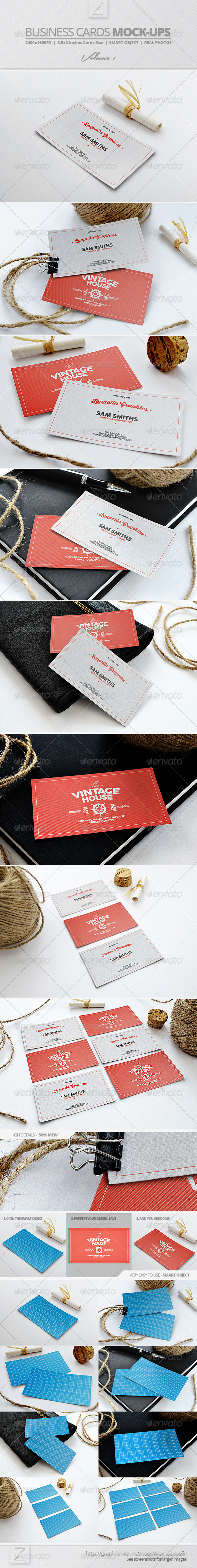 GraphicRiver Business Card Mock-ups Vol.1 7855204