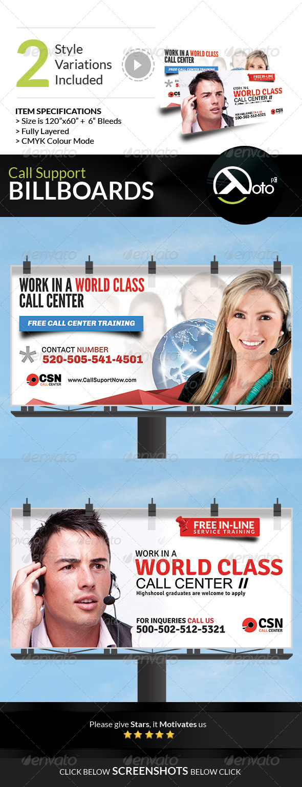 GraphicRiver Call Support Call Center Solutions Billboard 7857223