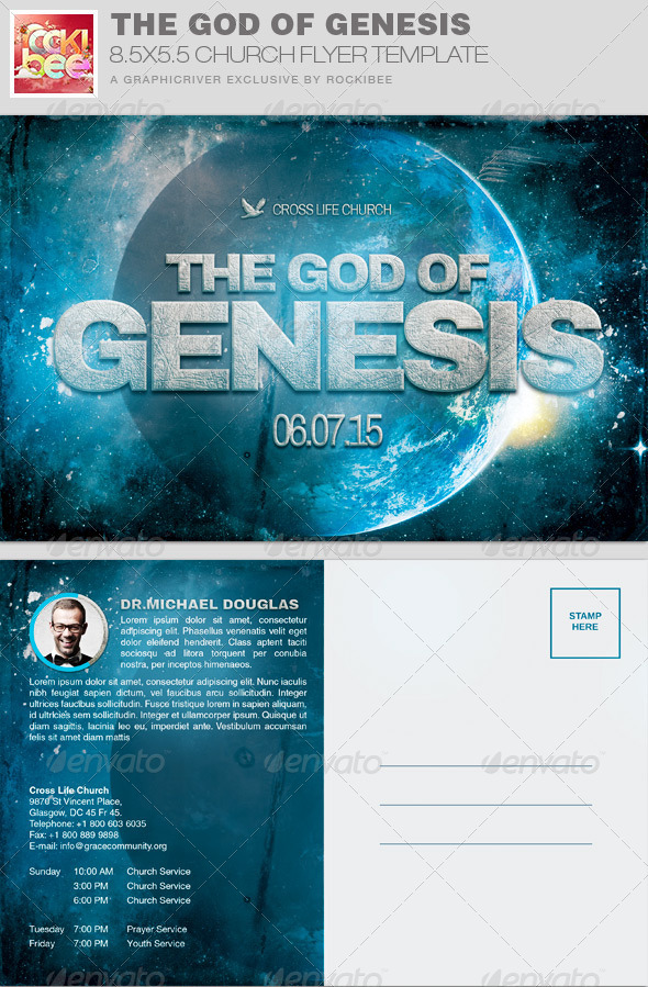 GraphicRiver The God of Genesis Church Flyer Invite Template 7857464